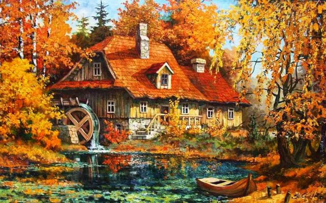 Old Watermill Autumn Forest wallpapers and stock photos