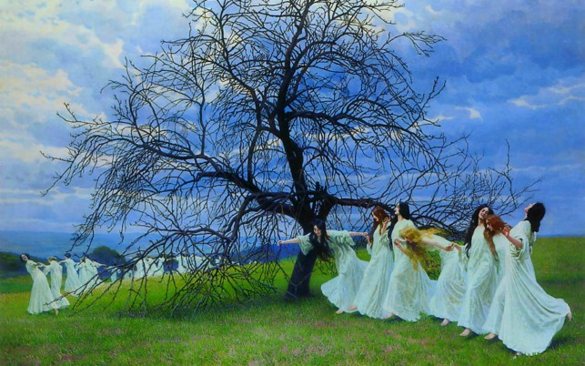 Dancing Ladies Tree Meadow wallpapers and stock photos