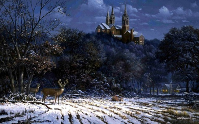 Random: Forest Castle Deer Snow Field