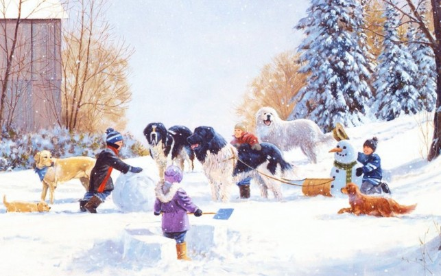 Kids Dogs Snowman Fun Winter wallpapers and stock photos