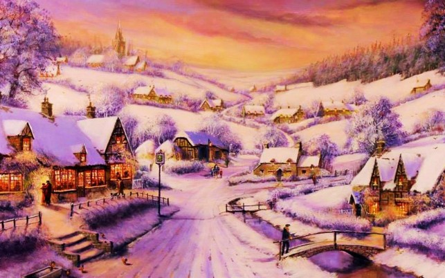 Houses Path Village Winter wallpapers and stock photos