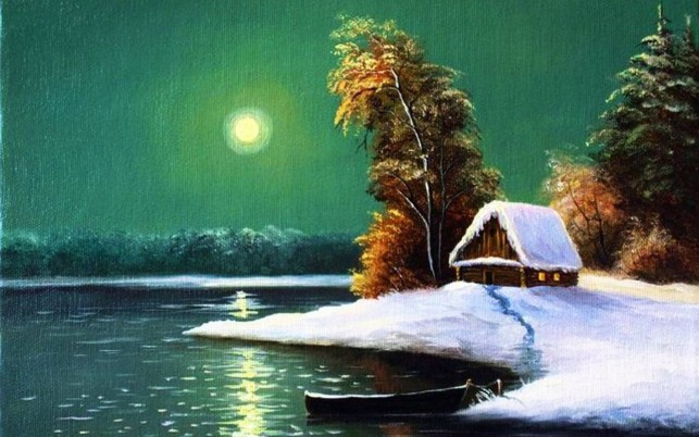 Trees Lake Boat Snow Hut Moon wallpapers and stock photos