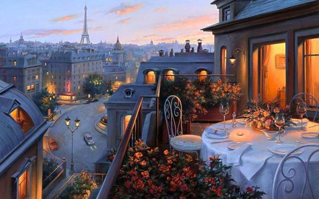 Terrace Dinner Evening Lookout wallpapers and stock photos