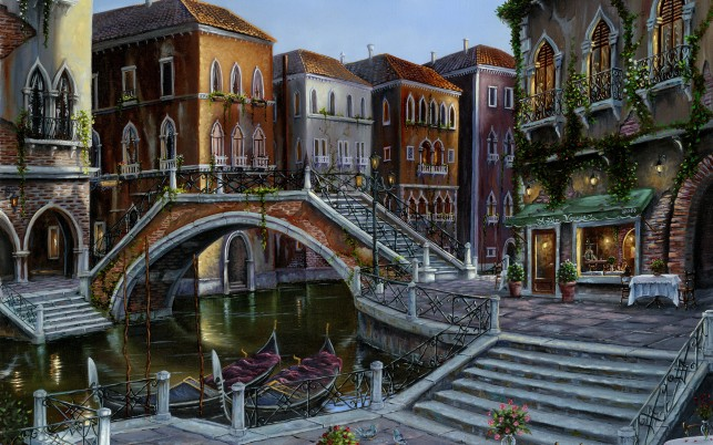 Canal Gondolas Bridge Steps wallpapers and stock photos