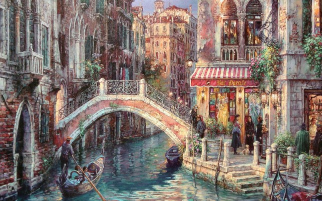 Canal Gondola Bridge Shops wallpapers and stock photos