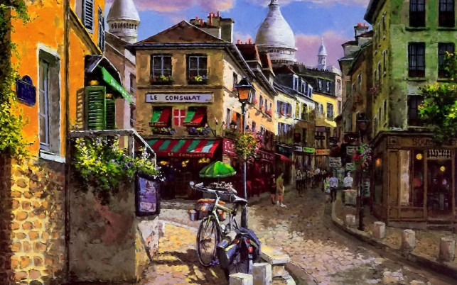 People Shops Mont Martre wallpapers and stock photos