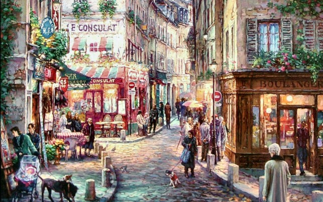 Stroll Through Mont Martre wallpapers and stock photos