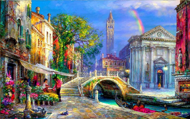 Lovely Venice Gondola Florist wallpapers and stock photos