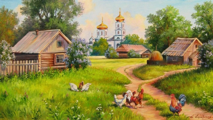 Farm Poultry Path Grass Church wallpapers and stock photos