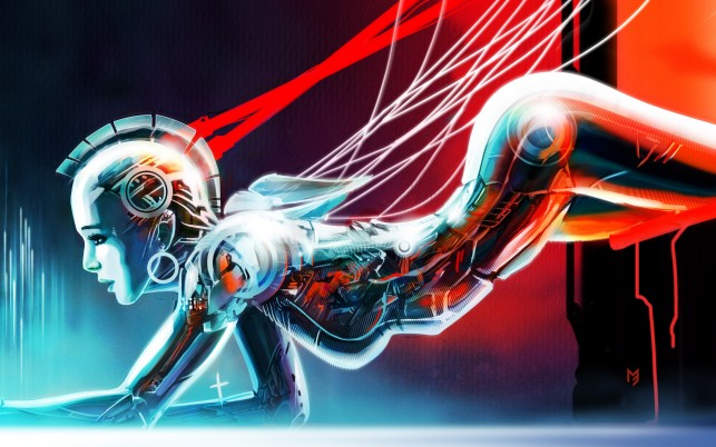Woman Mohawk Wire Robot wallpapers and stock photos