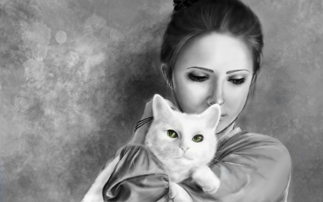 Woman & Cat Green Eyes wallpapers and stock photos