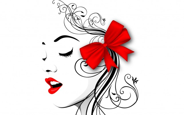 Woman Face Red Lips & Ribbon wallpapers and stock photos