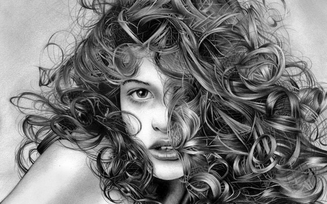 Woman Playful Curls Portrait wallpapers and stock photos