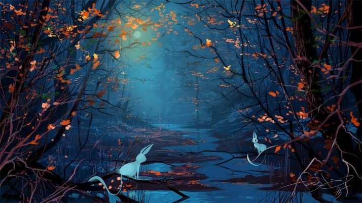 Creek Noche Amor Bunnys Bosque wallpapers and stock photos