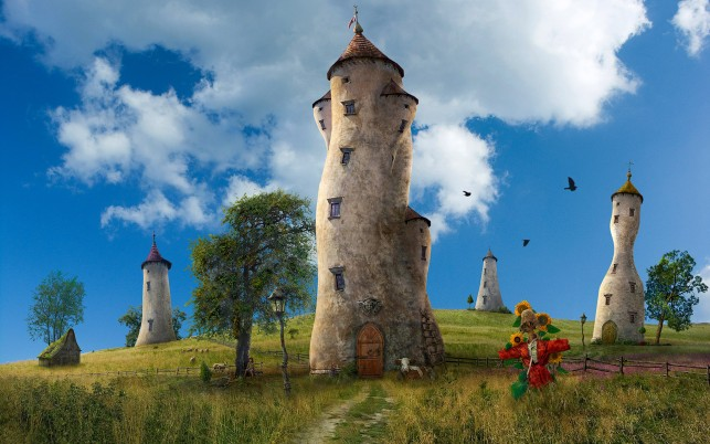 Fantasy Towers & Red ScareCrow wallpapers and stock photos