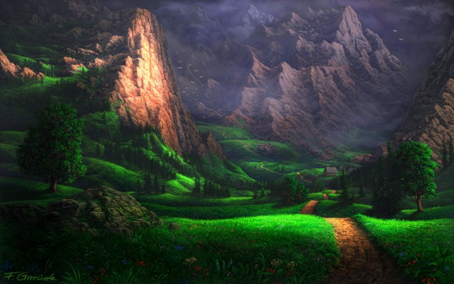 Splendid Green Valley wallpapers and stock photos