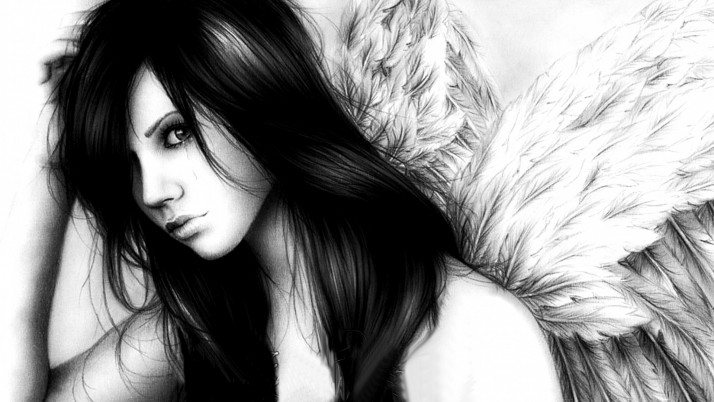 Woman Black Hair Angel wallpapers and stock photos