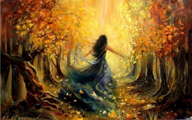 Woman Autumn Forest Sunlight wallpapers and stock photos