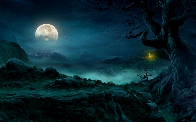 Mysterious Night Full Moon wallpapers and stock photos