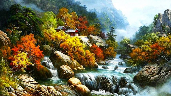 Wild Waterfalls Canyon Autumn wallpapers and stock photos