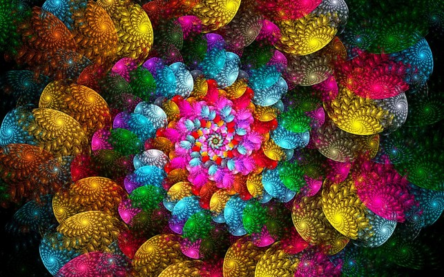 Rainbow Spiral Fractal wallpapers and stock photos