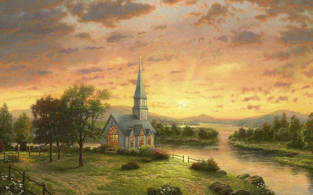 Trees River Church Nice Sunset wallpapers and stock photos