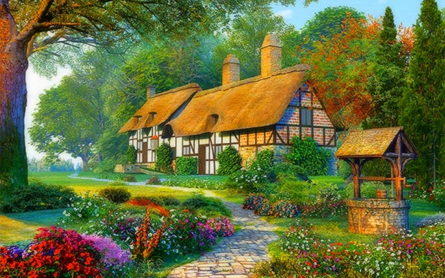 Romantic Cottages wallpapers and stock photos