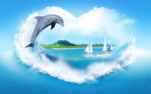 Ocean Dolphin Boats Heart wallpapers and stock photos