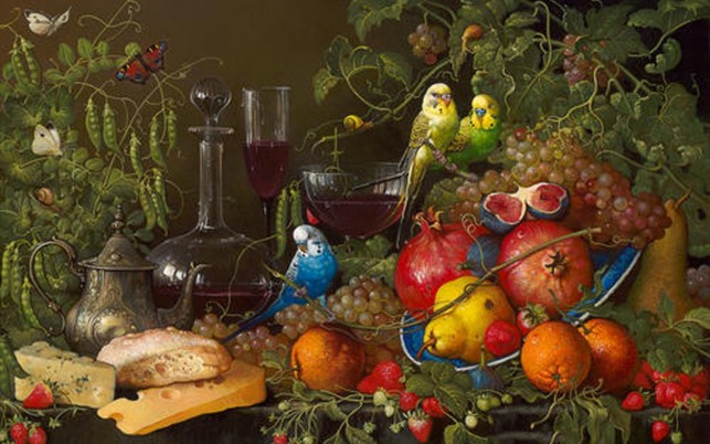 Birds Fruits Cheese & Wine wallpapers and stock photos