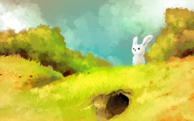 Random: Cute Bunny Hill Burrow Trees