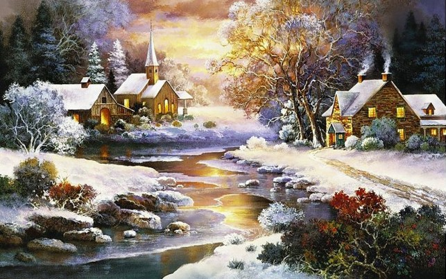Wood Cottage Creek Church Snow wallpapers and stock photos
