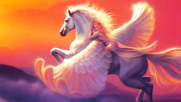 Random: Woman Blonde Dreaming Pegasus