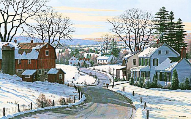 Houses Barn Road Winter Valley wallpapers and stock photos