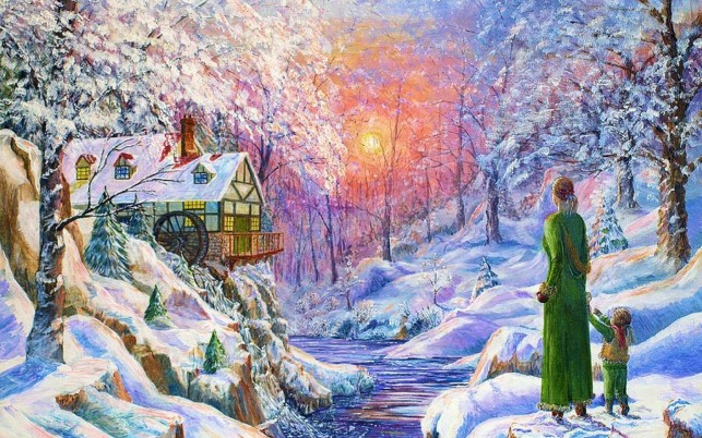 Watermill People Sunset Winter wallpapers and stock photos