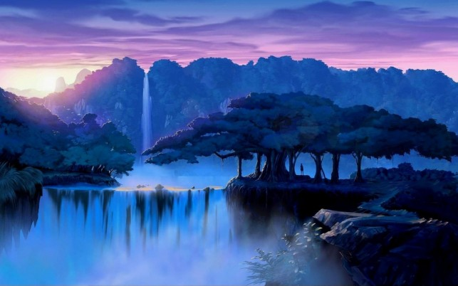 Lovely Waterfall Jungle Sunset wallpapers and stock photos