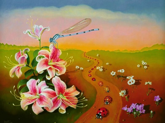 Dragonfly Flowers Ladybugs wallpapers and stock photos