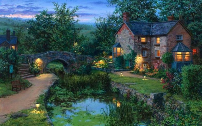 Cottage Bridge Pond Garden Dim wallpapers and stock photos