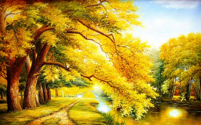 Golden Autumn Trees & River wallpapers and stock photos