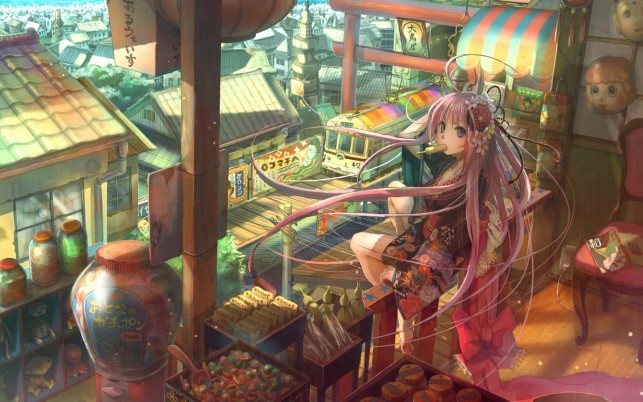 Girl Pink Hair Japanese Sweets wallpapers and stock photos
