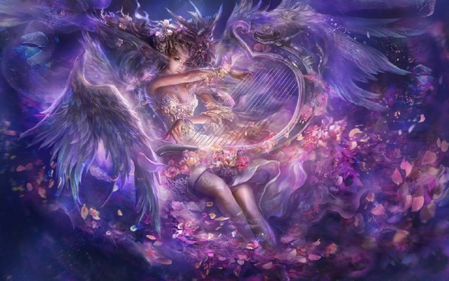 Woman Dress Wings Harp Roses wallpapers and stock photos