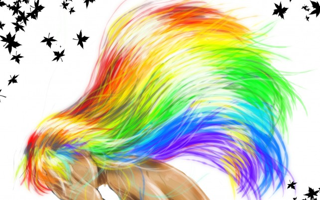 Woman Rainbow Hair Pose Mood wallpapers and stock photos