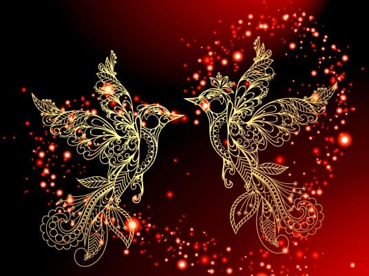 Golden Birds & Red Heart wallpapers and stock photos