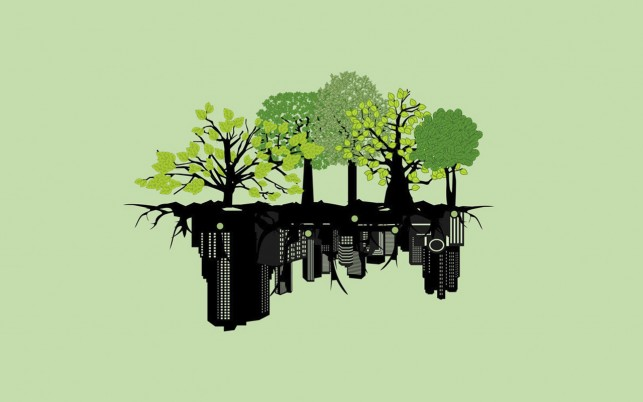 Black City & Green Trees wallpapers and stock photos