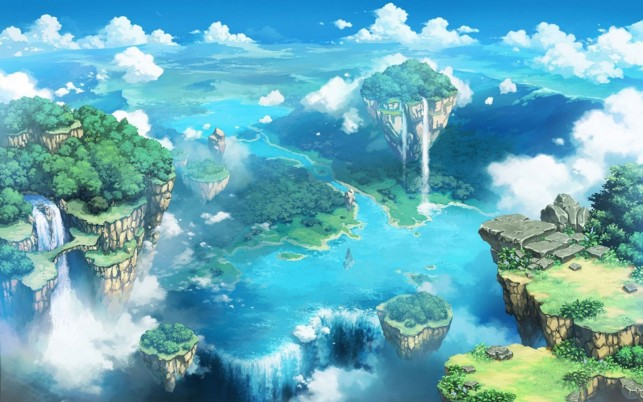 Waterfall Flying Islands River wallpapers and stock photos