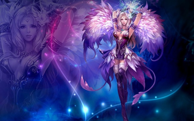 Woman Wings Purple Costume wallpapers and stock photos