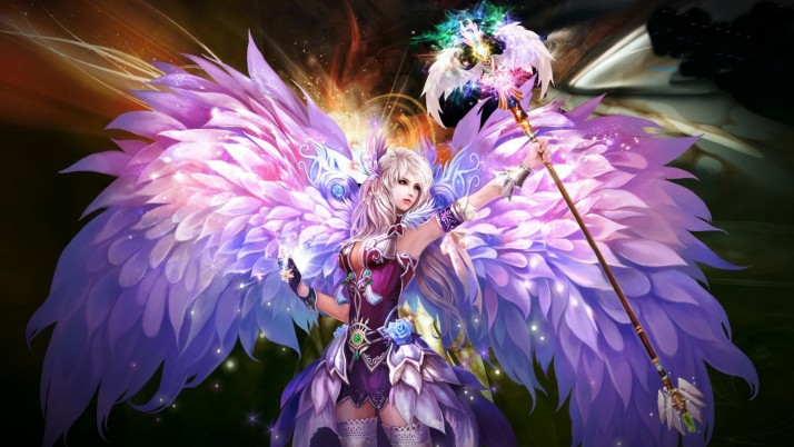 Woman Wings Scepter Energy wallpapers and stock photos