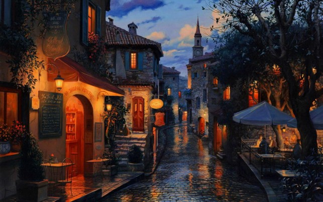 Town Restaurant Terrace Night wallpapers and stock photos