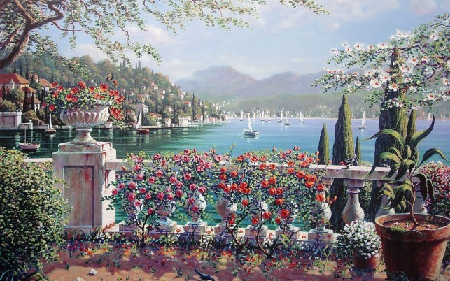 Pretty Terrace Bellagio Italy wallpapers and stock photos