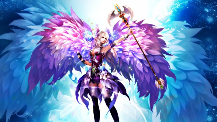 Woman Angel Scepter Fusion wallpapers and stock photos