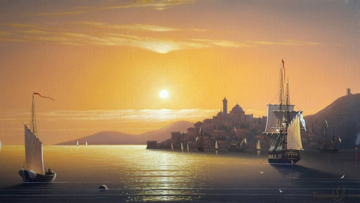 Ocean Ships Sunset Istanbul wallpapers and stock photos